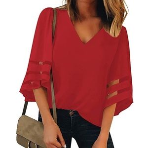 V Neck Red Bell Sleeve Top
